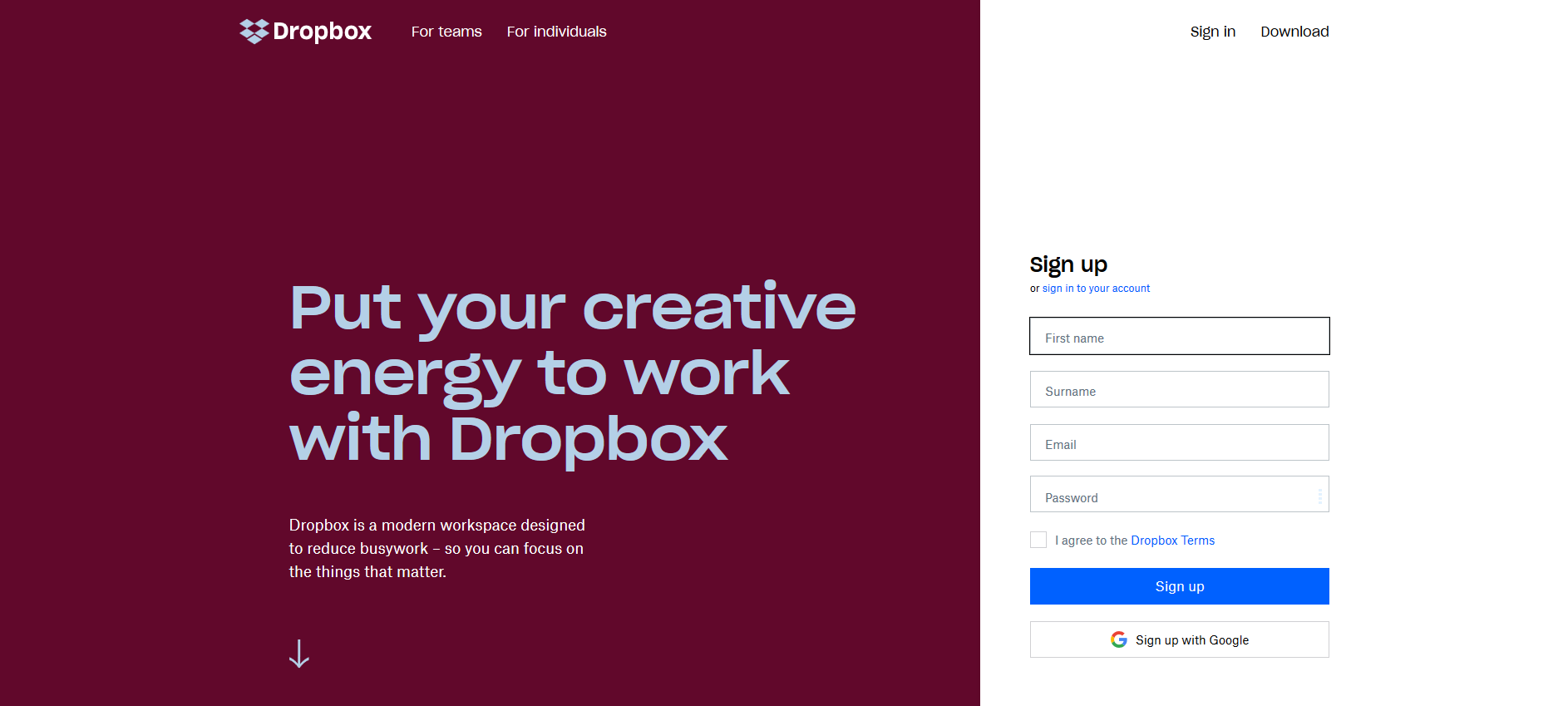 Dropbox UX design