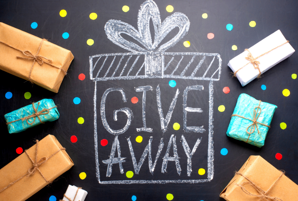 chalkboard with a drawn present and give away phrase