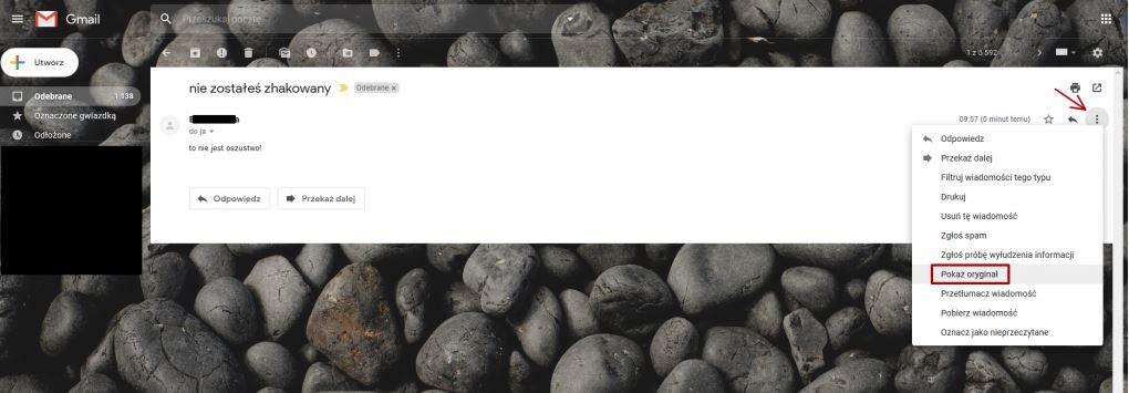 screenshot of gmail account