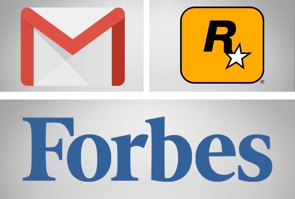 logos of gmail, rockstargames, forbes