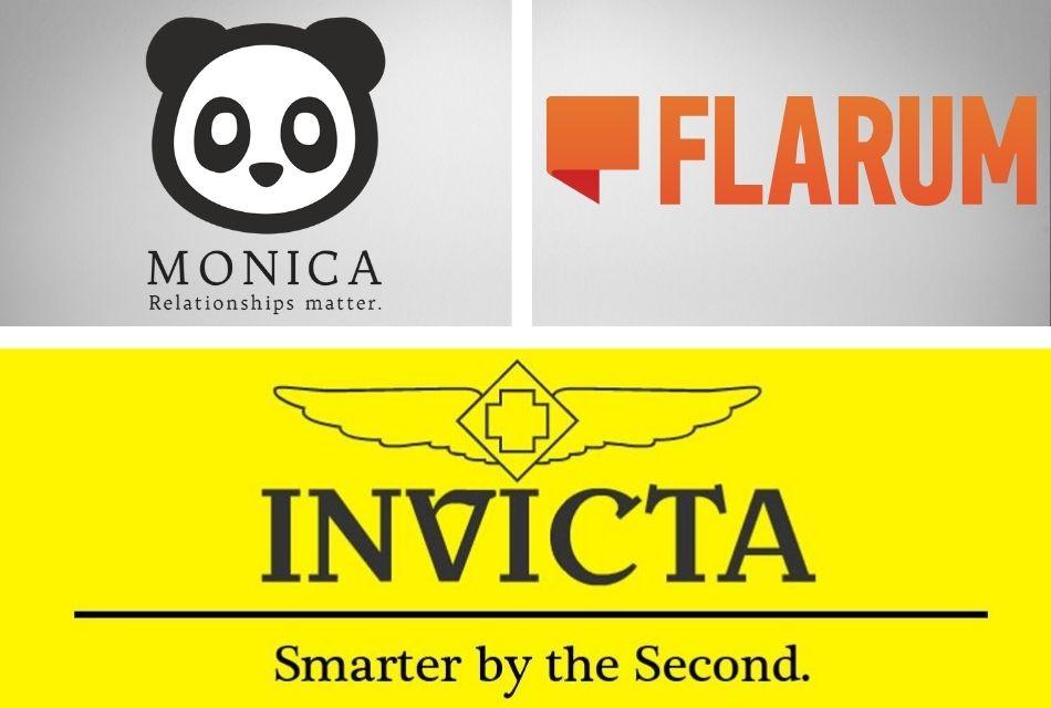 logos of monica, flarum, invicta