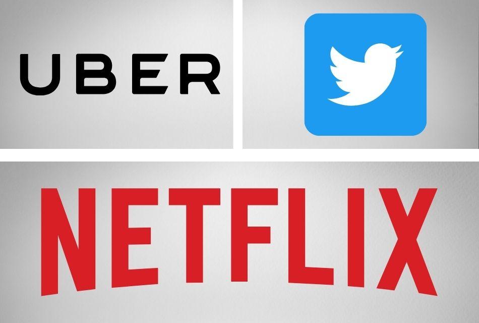 logos of Uber, Twitter, Netflix